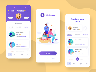 KidBerry illustrations task manager kids app
