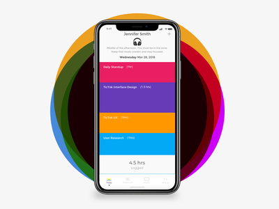 Tictok - Time Tracker iphonex design bright ux ui tracker activity app time tracker