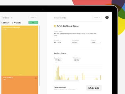 TicTok Web Portal statistics dataviz task monitor task manager time tracking productivity application web