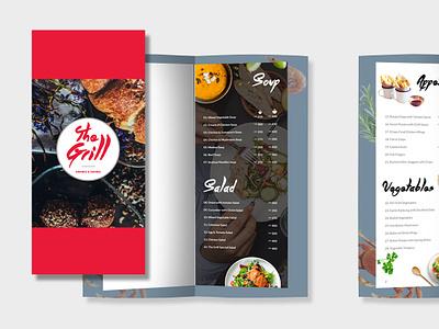 Menu Design for The Grill creative design user experience logo illustration typography branding menu card printing design print media cream menu design