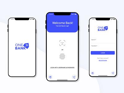 Banking mobile app (Concept design) ios app ios iphone x logodesign fingerprint face recognition login page clean design ux ui mobile app bank mobile ui