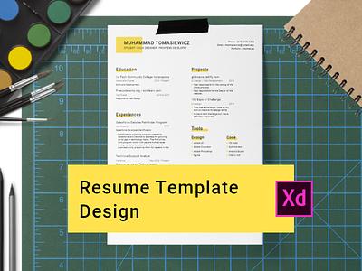 Resume Template Design challenge adobe xd resume