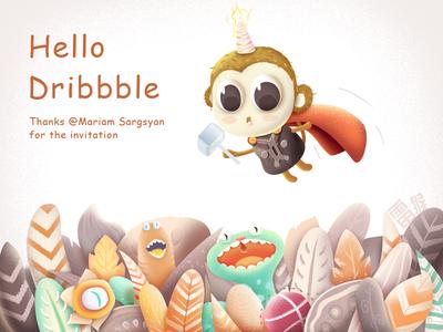 Hello Dribbble! hello dribbble snake leithink illustration lovely monkey debut