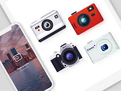 Camera Icon grey flat red icon camera ui