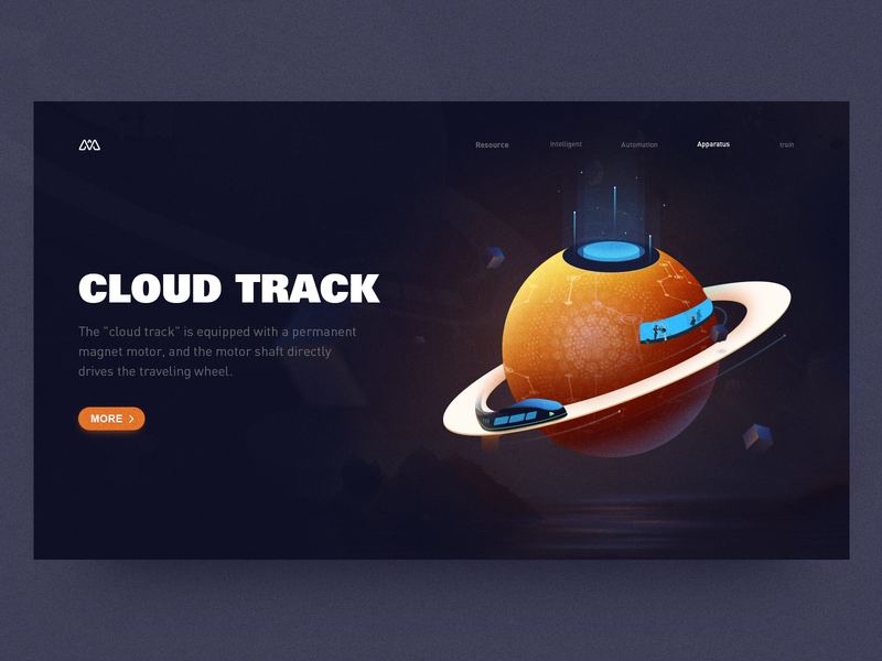 Cloud Track reflection train car blue orange intelligent energy technology planet space cloud track