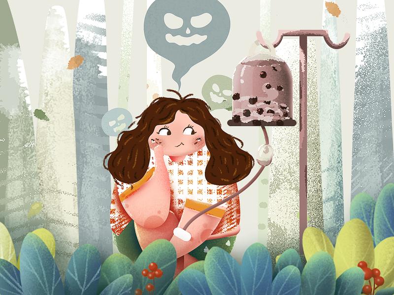 Milk tea renewal texture illustration popular youth tree summer creative design illustration