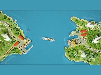 shipping 3d map map sea ship shipping