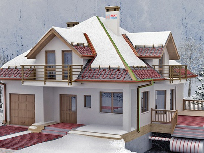 heating winter exterior house 3d illustration heating