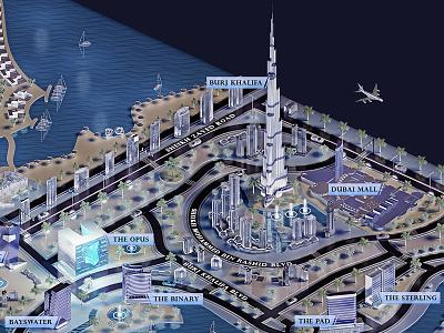 Dubai Downtown rendering downtown dubai map 3d 3dmap dubai