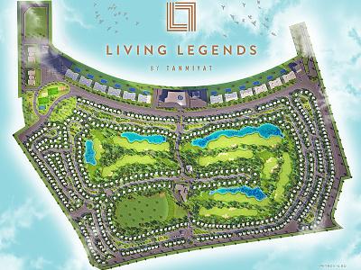 Dubai Living Legends 3d graphic top view master plan rendering 3d rendering map village