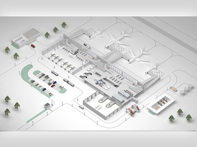 airport infrastructure 3d illustration isometry laconic infrastructure factory seaport airport 3d rendering