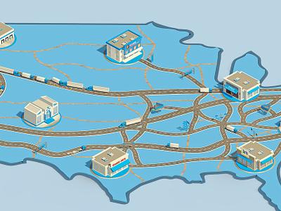 logistic map 3d graphic 3dsmax usa 3d rendering logistics map