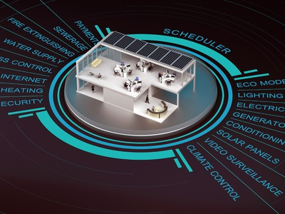 smart office smart home technology 3d rendering ofiice smart
