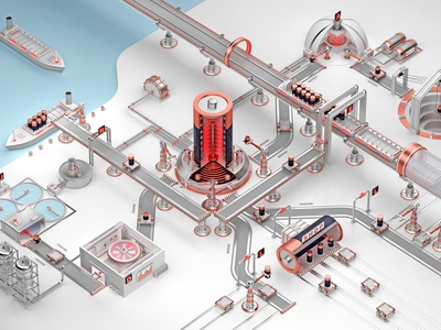 Battery factory process logistics concept render 3d 3d rendering diagram creative simple funny industry manufacturing battery factory