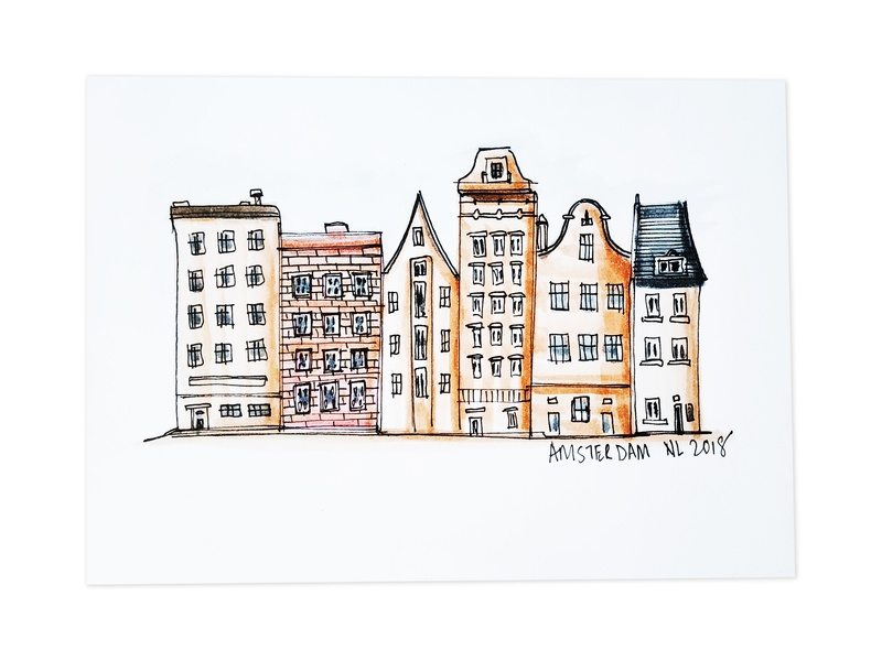 Amsterdam! minimal logos logo design graphic brand identity brand abstract nature painting graphic design water color urban sketching sketchbook places people medium brush pens pen sketch design sketching