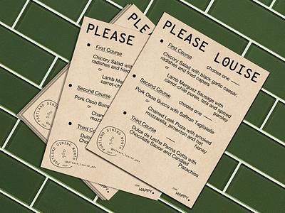 Menu Design Please Louise menu design food pizza restaurant monogram brand identity layout print menu