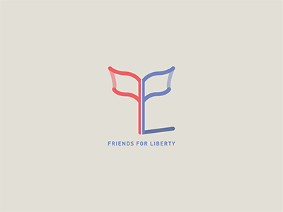 Friends For Liberty shadow linework lines america liberty flag logo logos branding identity