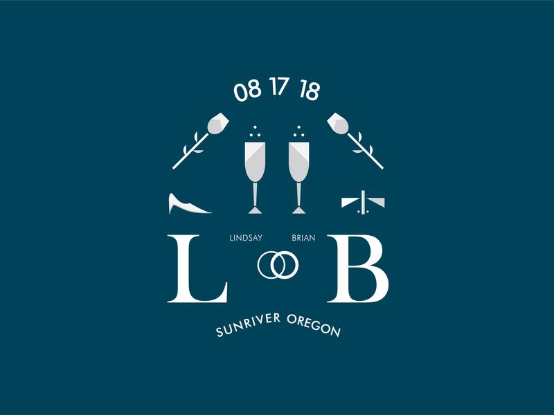 Wedding Stuffs for L & B typography vector graphic design wedding design illustration