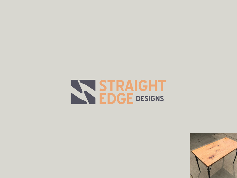 Straight Edge furniture building construction wood design mark branding logo identity