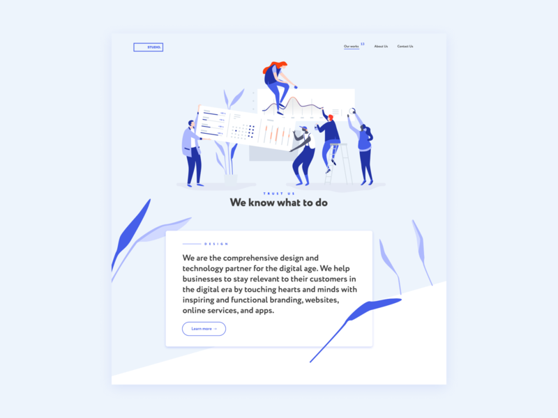 Studio. Digital Agency Corporate Website adobe flat lettering logo typography web minimal website ui ux design illustration