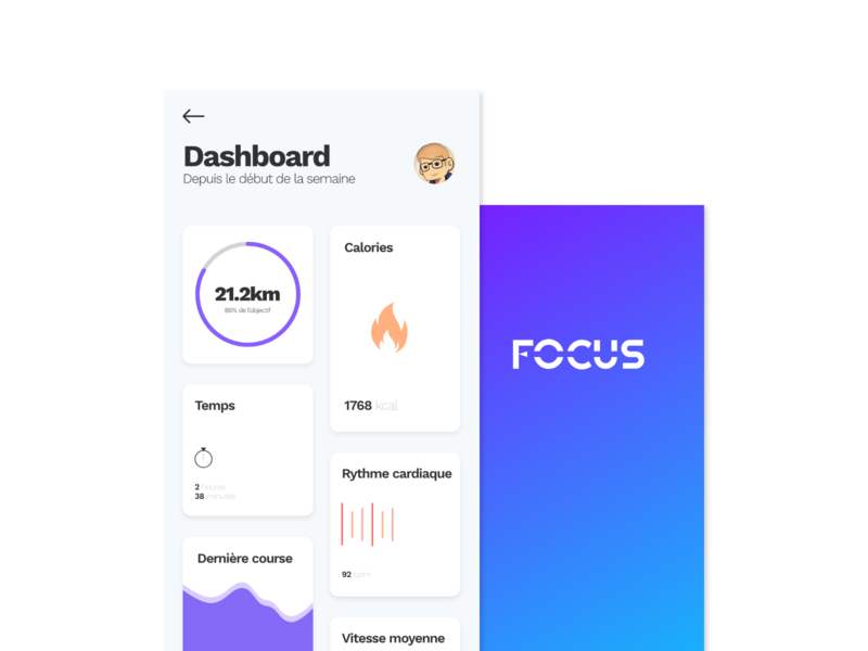 Focus mobile app france webdesign stats dashboard design ui ux android app ios mobile