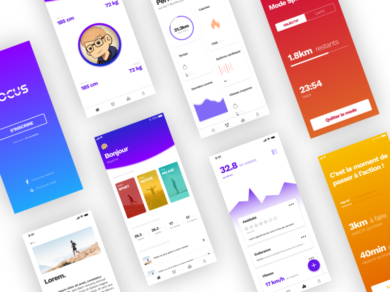 Focus concept app dashboard stats sport android concept ui ux layout design app ios mobile