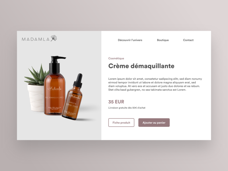 Madamla desktop france webdesign ux ui app concept interface buy product shop