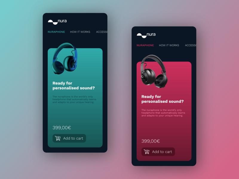 Nuraphone ios france webdesign ui headphone colors app mobile shop music nuraphone