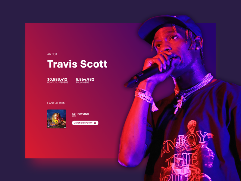 Travis Scott stats graphism minimalist ui webdesign design landing page desktop website concept astroworld music scott travis