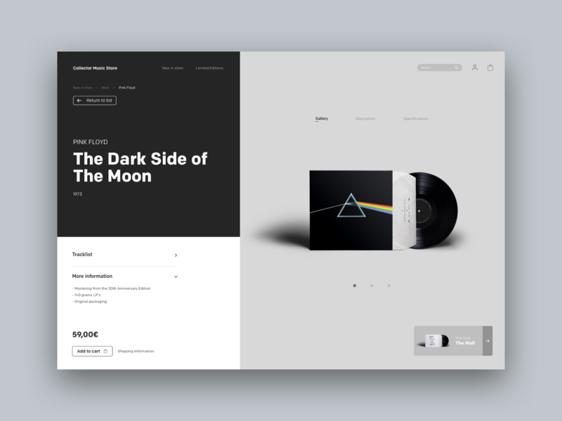 Collector vinyl shop desktop online shop template ux france design ui webdesign website concept shop store vinyl pink floyd