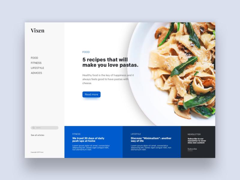 Vixen - lifestyle magazine ux france ui webdesign design minimal desktop concept homepage landing page website magazine