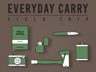 Everyday Carry/ Field Trip equipment icons edc excursion nature