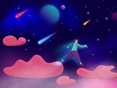 Space planet cloud man stars space