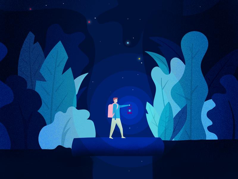 Night hike pencil ipad affinitydesigner illustration blue leaves hike night