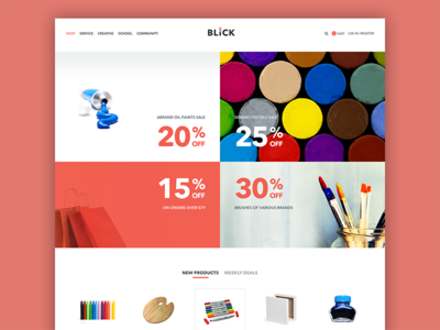 Art supplies site home page
