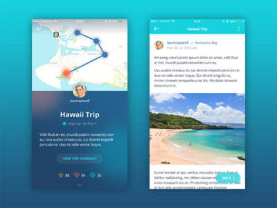 Travel journal app concept