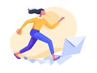 Run mail office run people design vector illustration ui