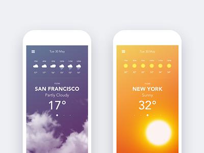 Weather App weather ux ui swipe motion ios design app animation
