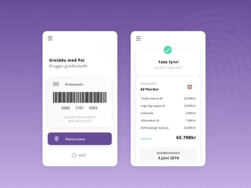 Pei app receipt phone app payments barcode pei iceland appdesign ux design ui payment app pay app