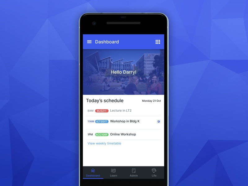 Dashboard for Student Portal mobile app education ui design mobile design