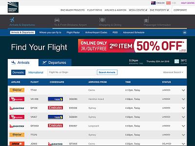 Brisbane International Airport design web design ux design ui ui design