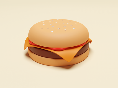 Burger menu maya cinema4d warm yellow bread meat bbq tomato burger pastel matte food illustration web ux ui 3d blender