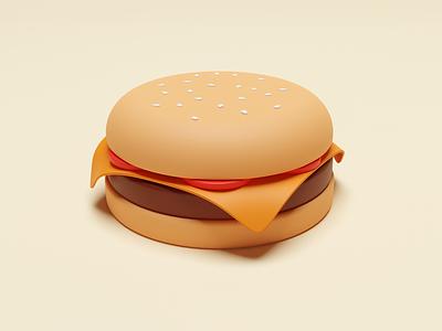 Burger menu maya cinema4d warm yellow bread meat bbq tomato burger pastel matte food illustration web ux ui 3d blender