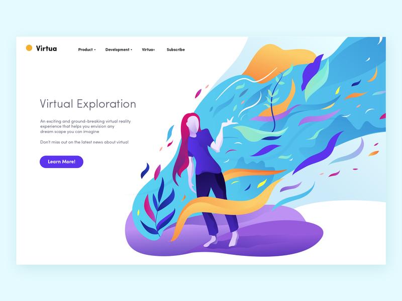 Illustration #4 gradient graphic nature petals purple virtual dream woman blue colour pastel light artwork design web ux ui art illustration illustrator