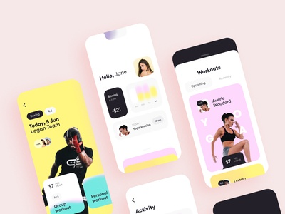 Workout App trainer workout ux ui mobile body app fitness