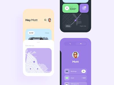 Car Rental App card bmw search map choose transport driver rental booking car app ui mobile