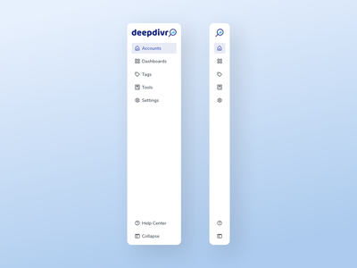 Sidebar Navigation | deepdivr (SaaS) ux design ui design sidebar design sidebar navigation sidebar menu user interface design ui clean asset component navigation sidebar