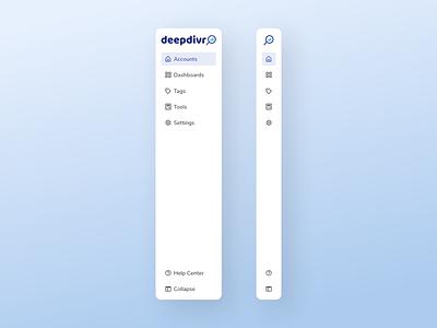 Sidebar Navigation | deepdivr (SaaS) ux design ui design sidebar design sidebar navigation sidebar menu user interface design ui clean asset component navigation sidebar