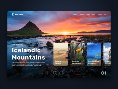 Web Design | Travel Agency photography mountains nature iceland website design website web clean design landing page design web design ui travel agency travel app cards ui