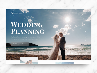 Web Design | Dream Events landing page design landing page wedding design photography classic event plannig modern wedding website design web design web website design clean ui
